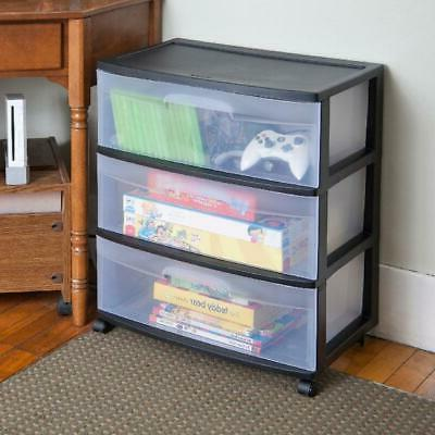 3 Drawer Wide Container Box Rolling