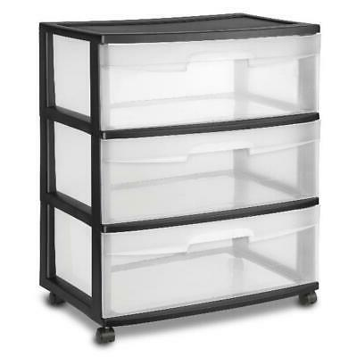 3 drawer wide cart container plastic storage