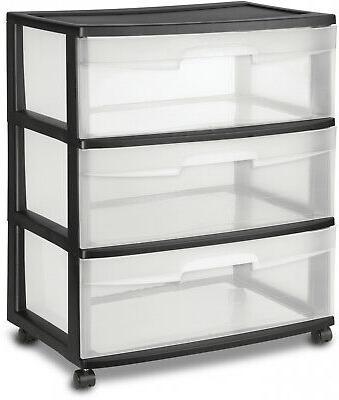 3 drawer wide cart storage box home
