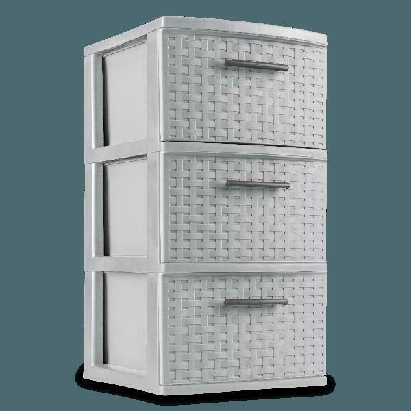 New 2 PACK 3 Drawer Storage Organizer Weave Cabinet Box Cont