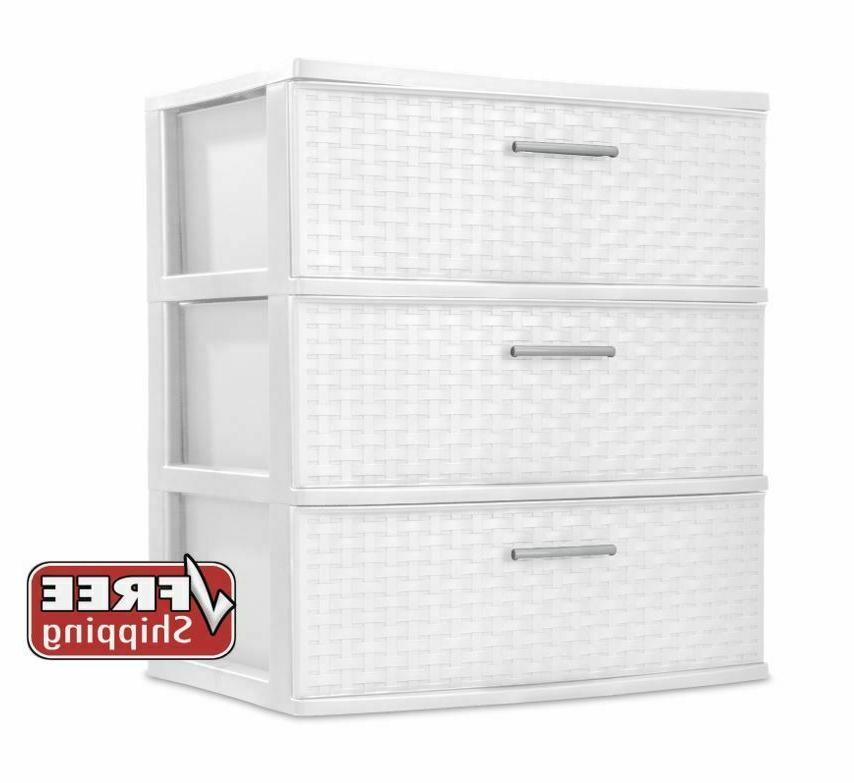 3 Drawer Wide Weave Tower Storage Cabinet Box Organizer Dres