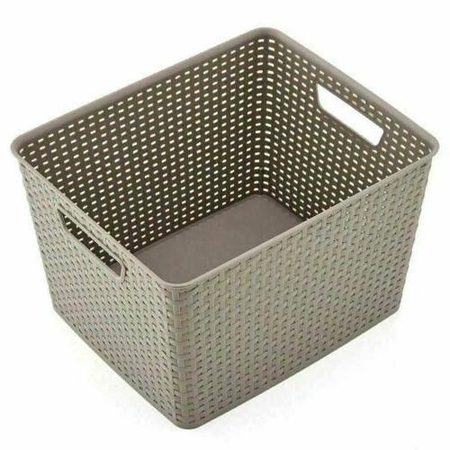 3 Large Plastic Shelf Storage Baskets Container
