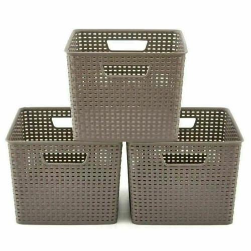 3 Large Waterprof Plastic Shelf Storage Baskets Container Boxes