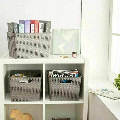 3 Gray Plastic Shelf Baskets Container
