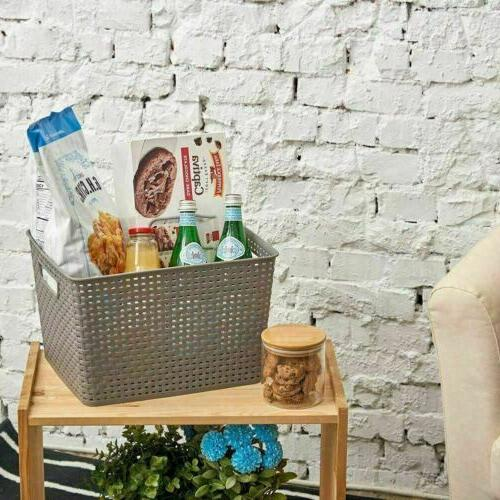 3 Plastic Shelf Storage Baskets Container