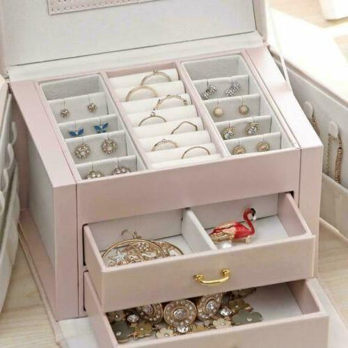 3-Layer Jewelry Leather Necklace Organizer With