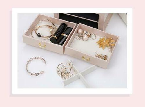 3-Layer Jewelry Leather Earring Ring Organizer