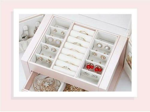 3-Layer Jewelry Leather Earring Organizer With