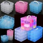 3 Layers 18 Compartments Clear Jewelry Storage Box Case Craf