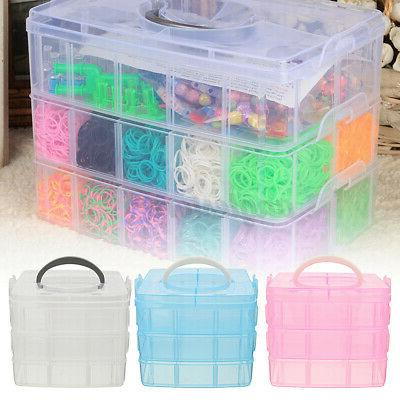 3 Layers Clear Jewelry Bead Box Container Case