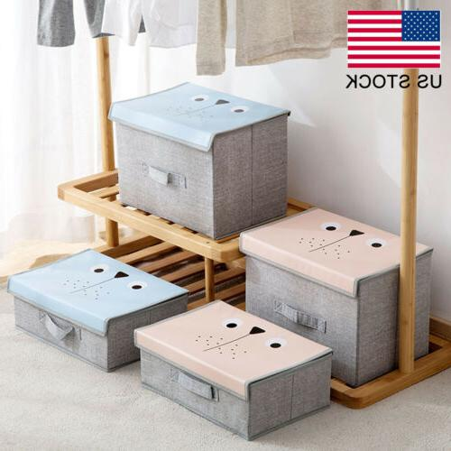 1/2/3PC Storage Box Bin Organizer Container with Lid Handle