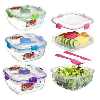 3 section salad container fresh food storage