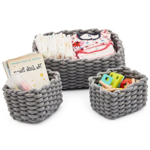 3 Set Cotton Baskets Organizer Storage Shelf Bins boxes