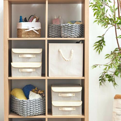 3 Decorative Cotton Rope Baskets Storage Shelf