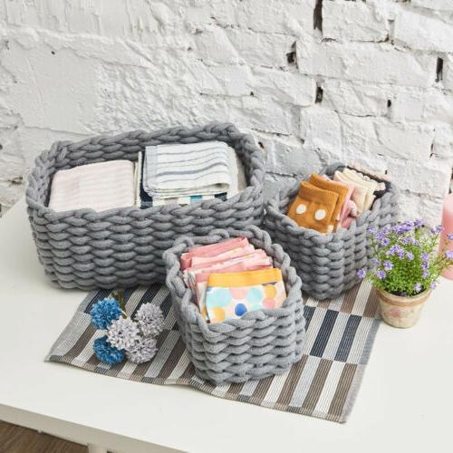 3 Cotton Baskets Organizer Storage
