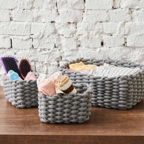 3 Set Woven Cotton Baskets Storage Shelf