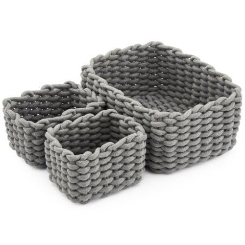 3 set decorative woven cotton rope baskets