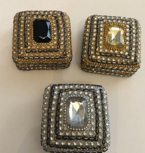 3 Small Jeweled Trinket Ring Jewelry Storage