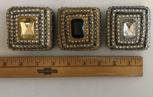 3 Small Jeweled Trinket Jewelry Boxes Jewel