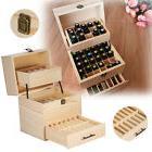 3 Tier Essential Oil Box Case Wood Storage Carry Aromatherap