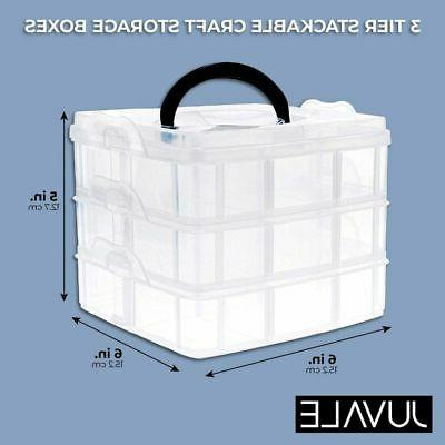 3 Storage Organizer Box with Adjustable Compartments