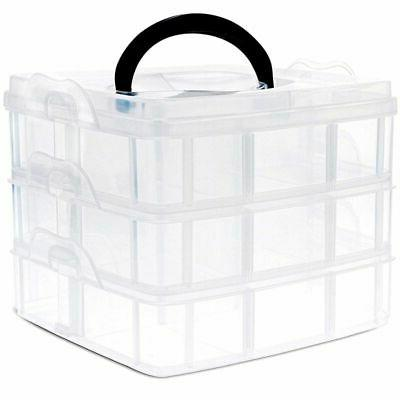 3 Plastic Craft Storage Organizer Box with Adjustable Compartments