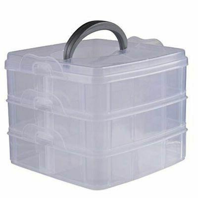 3 Tier Craft Storage Organizer with Adjustable Compartments