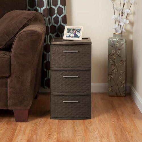 3 TIER WEAVE Home Storage Organizer Opaque Drawers Plastic Espresso