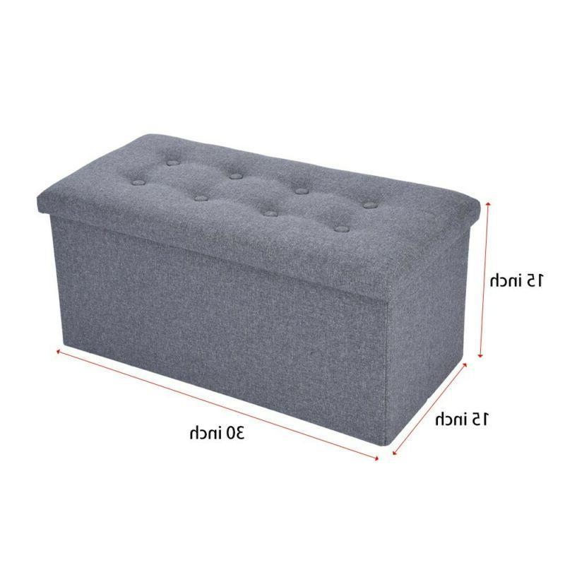 GREY OTTOMAN POUFFE SEAT STOOL BOX US