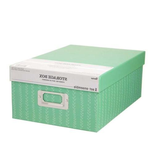 Darice 30032653 Decorative Photo Storage Box Stripes Green