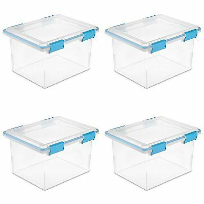 Sterilite 32 Quart Gasket Box with Clear Base and Lid    193