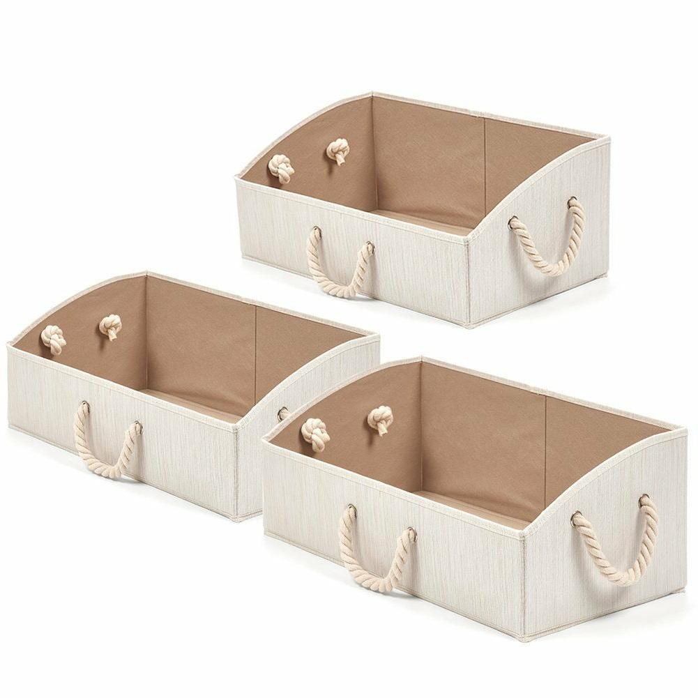 3pack large fabric trapezoid foldable organize storage