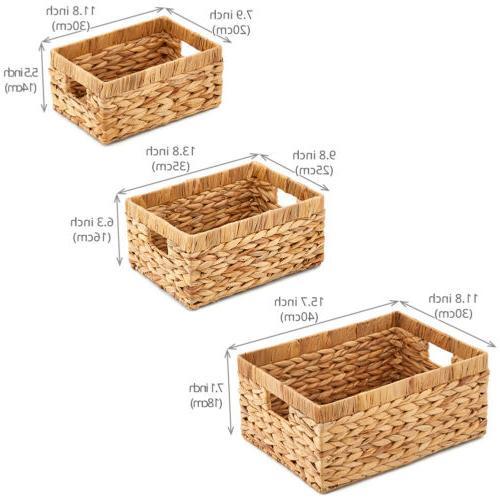 3pc Hyacinth Nesting Storage Baskets Boxes