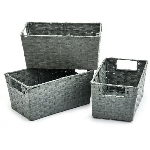 3pc Woven Storage Wicker Boxes Organizer