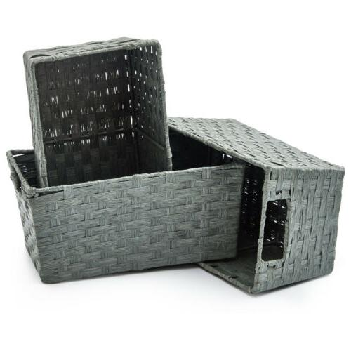 3pc Rope Storage Wicker Baskets Boxes Organizer Container