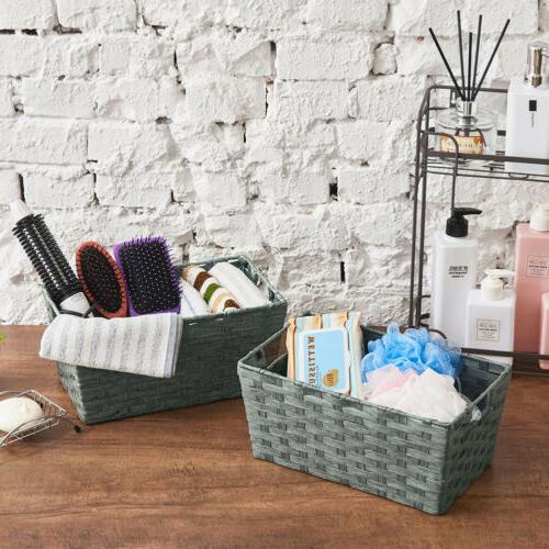 3pc Storage Wicker Boxes Container