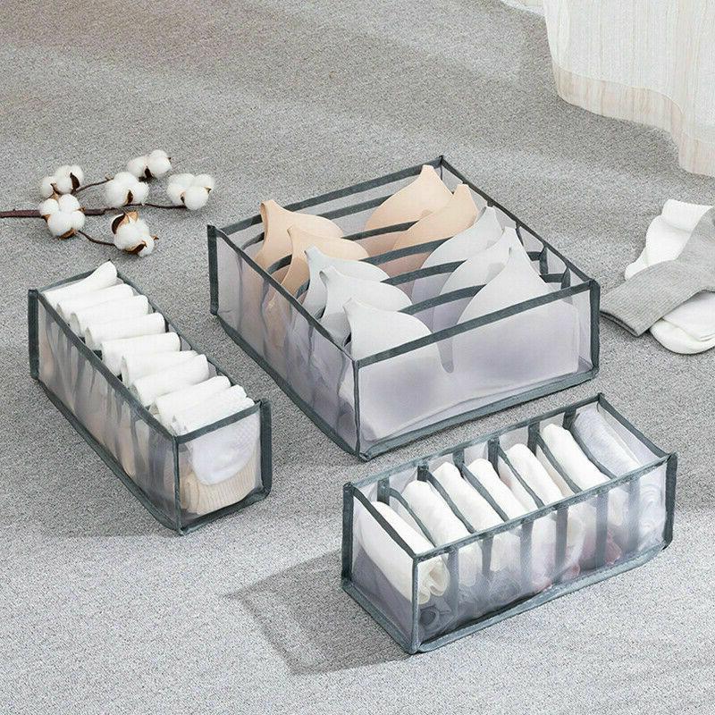 3PCS Foldable Drawer Organizer Divider Closet Storage Box Fo
