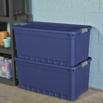3pk Plastic Storage Containers Large Blue 50 Gallon Stacking
