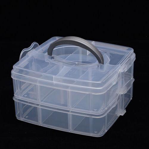 2 Tray Storage Case Holder Craft Box