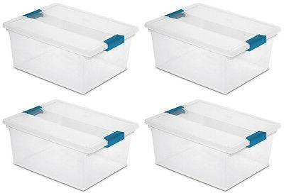 4) Sterilite File Box Storage Tote Lid