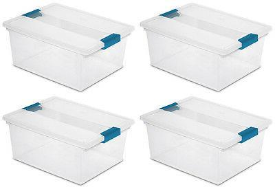 4) Sterilite File Box Storage Tote Lid