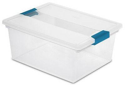4) File Clip Clear Storage Tote Container