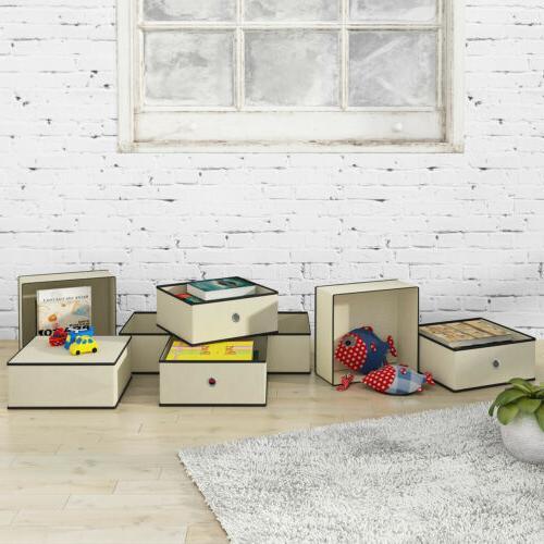 4/8Pcs Folding Half Cube Box Kids Toy Organizer