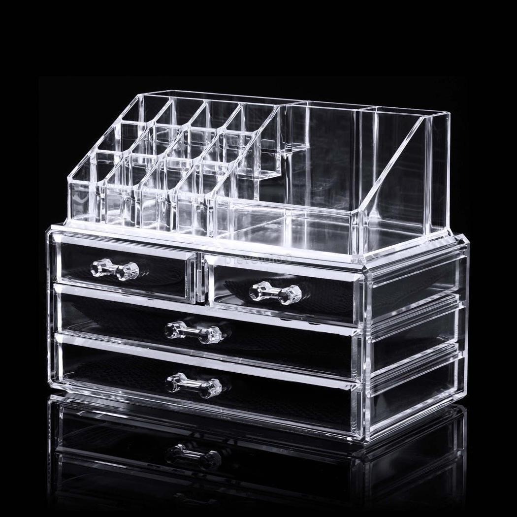 4 Drawer Clear Acrylic Cosmetic Organizer Makeup Case Jewelr