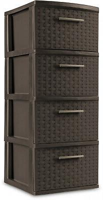 4 Drawer Storage Plastic Cabinet Tower Clothes Box