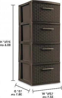 4 Storage Plastic Cabinet Organizer Tower Clothes Box
