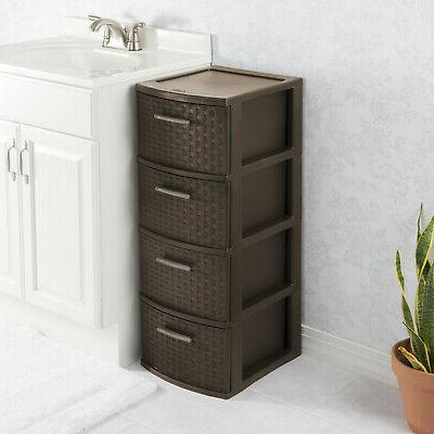 4 Drawer Storage Plastic Cabinet Organizer Clothes Box