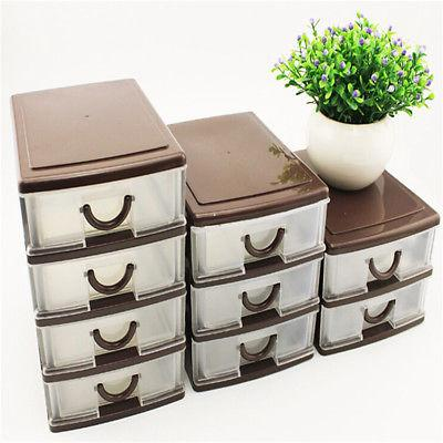 4 Drawer Organizer Plastic Storage Cabinet Bin White Desktop US