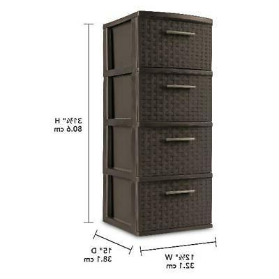 4 Drawer Weave Storage Cabinet Box File Dorm Brown 2 Pack