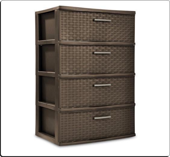 4 Organizer Wide Storage Cart Container Espresso